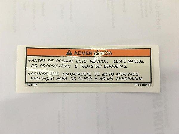 ETIQUETA DE ADVERTÊNCIA 4CDF118K00 ORIGINAL YAMAHA