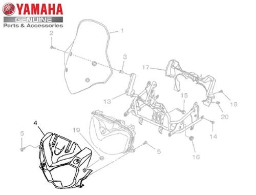 CARENAGEM DO FAROL PARATÉNÉRÉ 250 2016 A 2018 ORIGINAL YAMAHA