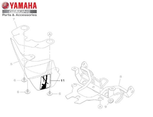 GRAFICO DA CARENAGEM FRONTAL DO FAROL DA XTZ150 CROSSER ORIGINAL YAMAHA