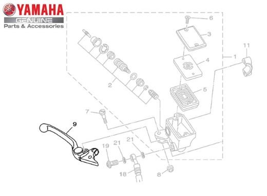 ALAVANCA DIREITA PARA YAMAHA MT 07, MT-09, MT 03, XJ6 N, XJ6 F, SUPER 1200, XT 660 Z E + ORIGINAL YAMAHA