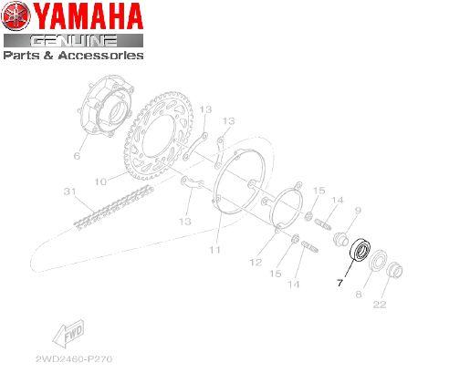 ROLAMENTO EXTERNO DO CUBO DA COROA DA MT-03 E YZF R3 ORIGINAL YAMAHA