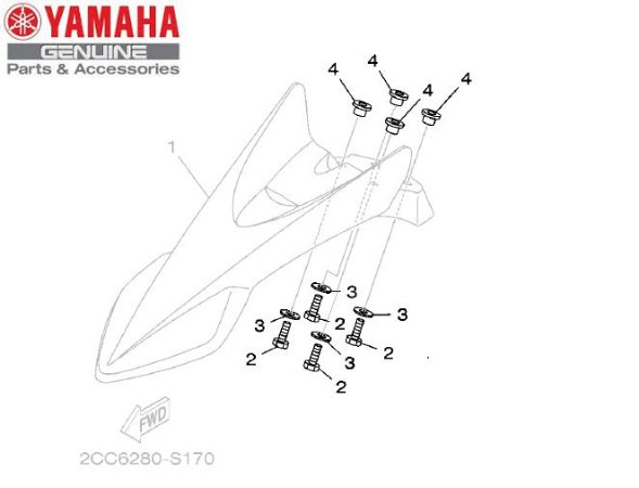KIT PARA FIXACAO DO PARALAMA SUPERIOR DA XTZ150 CROSSER Z ORIGINAL YAMAHA
