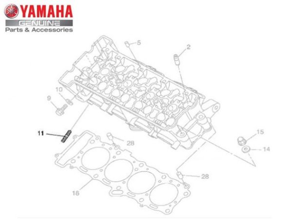 PARAFUSO PRISIONEIRO DO ESCAP PARA XJ6 , XVS950 MIDNIGHT STAR , MT-03 , YZF-R3 , YZF-R1 ORIGINAL YAMAHA