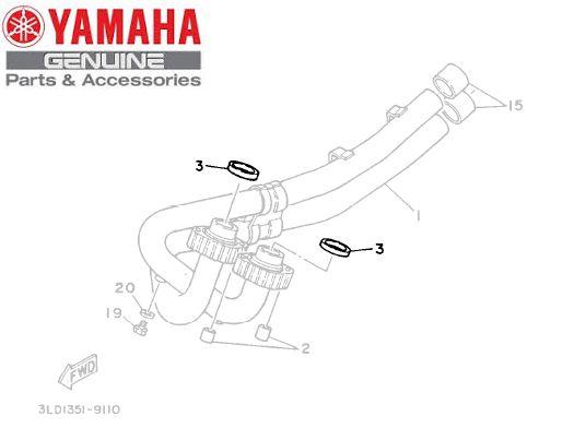 GAXETA OU GUARNICAO DO TUBO DE ESCAP PARA YZ450F , WR450 , XTZ750 E TDM900 ORIGINAL YAMAHA
