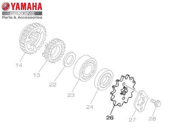 PINHAO 14D DA TRANSMISSAO PARA YBR125 , YBR125 FACTOR E XTZ125 ORIGINAL YAMAHA