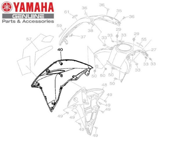 TOMADA DE AR DIREITA PARA XTZ250 NOVA LANDER ABS 2020 E 2021 ORIGINAL YAMAHA