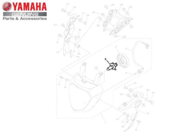 LAMPADA DO FAROL (12V-60/55W) PARA MT-03 , MT-07 , MT-09 ORIGINAL YAMAHA
