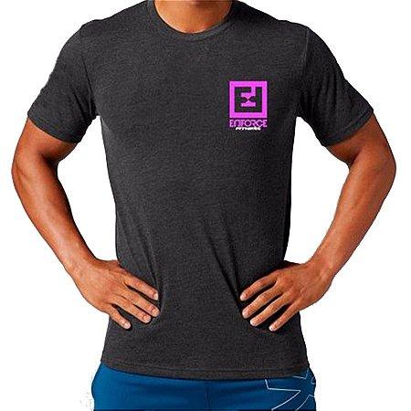 Camiseta treino Cinza e Rosa Enforce Fitness