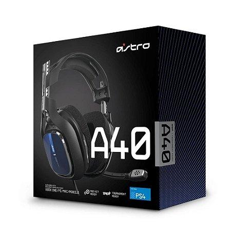 Headset ASTRO Gaming A40 TR para PS5, PS4, Xbox Series, Xbox One, PC e Mac - Preto/Azul
