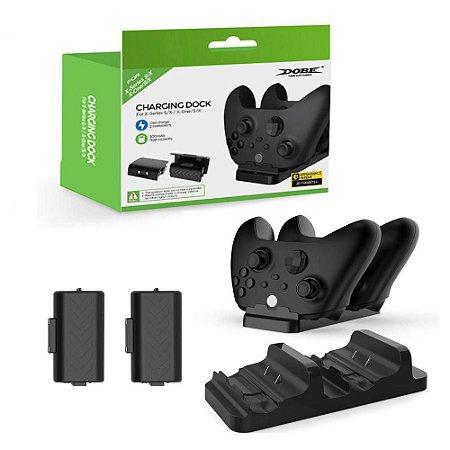 Kit Carregador Controle Dock Xbox Series S/X -One S/X +2 Bateria - Dobe