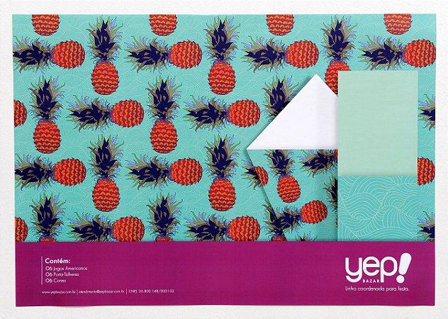 Kit Coordenado Abacaxi - Jogos Americanos, porta-talheres e cones para petiscos em papel