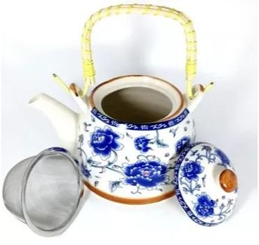 Chaleira Bule de Porcelana c/ Infusor e Alça 600 ml