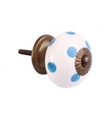 Puxador porta cerâmica  azul e branco