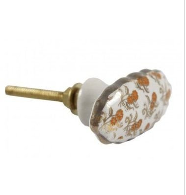 Puxador porta cerâmica branco e dourado