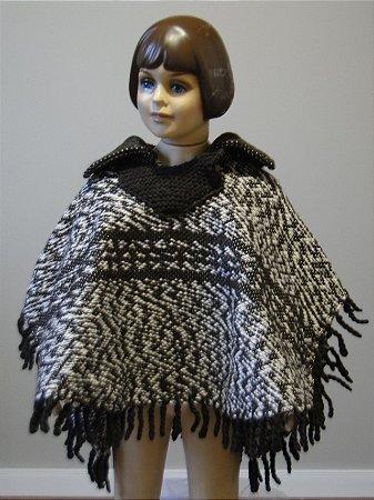 Poncho de Lã Artesanal Infantil