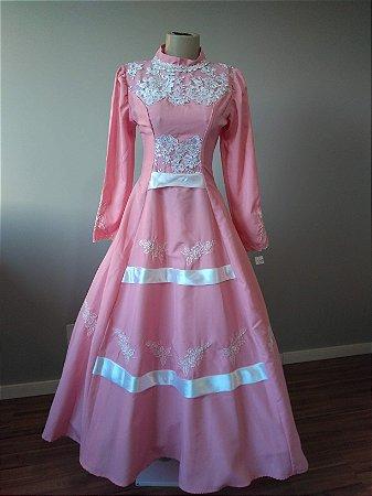 Vestido de Prenda Rosa Bordado com Renda e Cetim (16a)