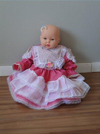 Vestido Infantil Rosa Bebê (6 meses)