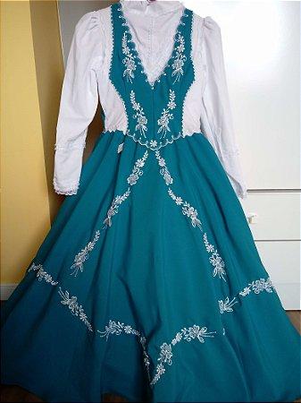 Vestido de Prenda Infantil Azul e Branco (10)