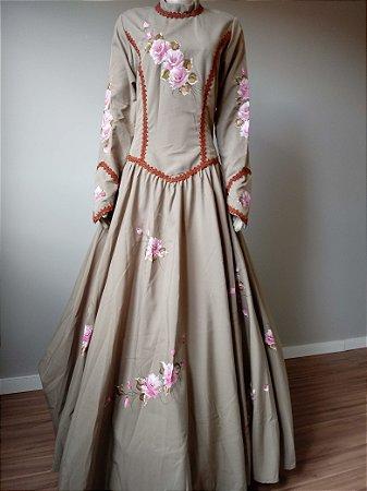 Vestido de Prenda Pintado à Mão Bege (38)