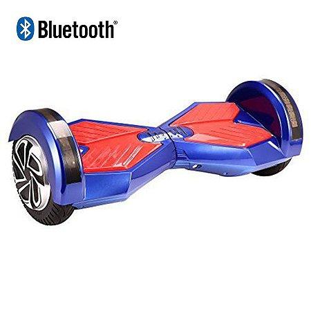 Hoverboard Skate Elétrico Smart Balance Wheel com Bluetooth 8 polegadas - Azul com Vermelho