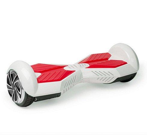 Hoverboard Skate Elétrico Smart Balance Wheel 6,5 Polegadas com Bluetooth - Branco com Vermelho