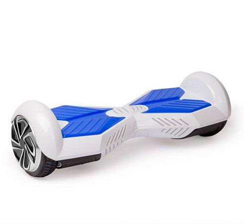 Hoverboard Skate Elétrico Smart Balance Wheel 6,5 Polegadas com Bluetooth - Branco com Azul