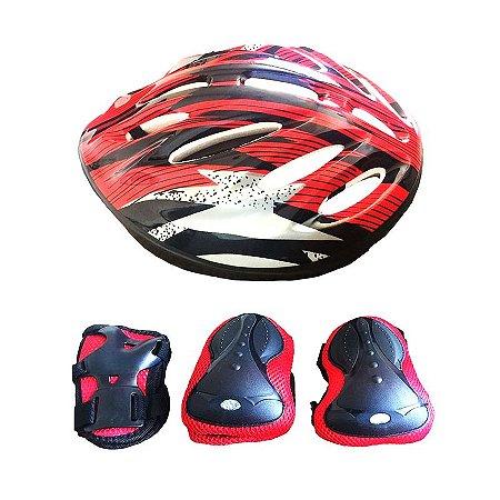 Kit de Proteção (Capacete, Cotoveleiras, Joelheiras e Munhequeiras) - Vermelho