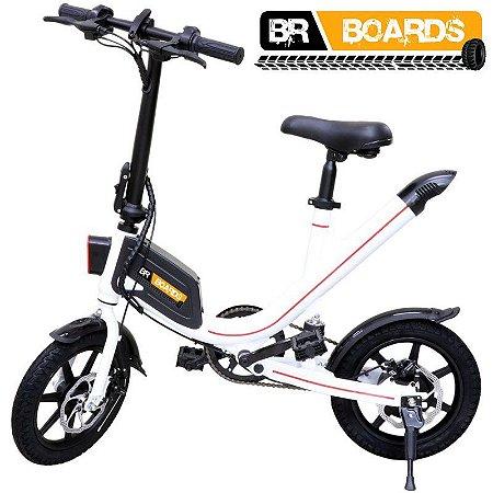 Bicicleta Elétrica BR Boards Aro 14 Potência 36V 300W Branca (com pedal)