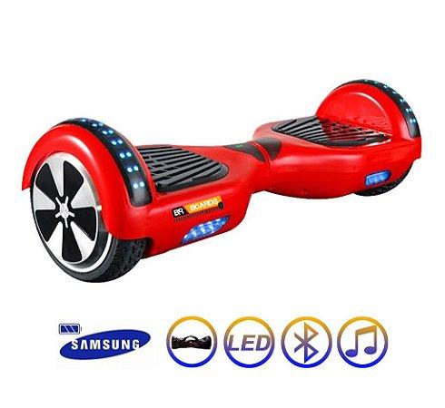 Hoverboard Skate Elétrico Smart Balance Wheel 6,5 Polegadas com Bluetooth - Vermelho