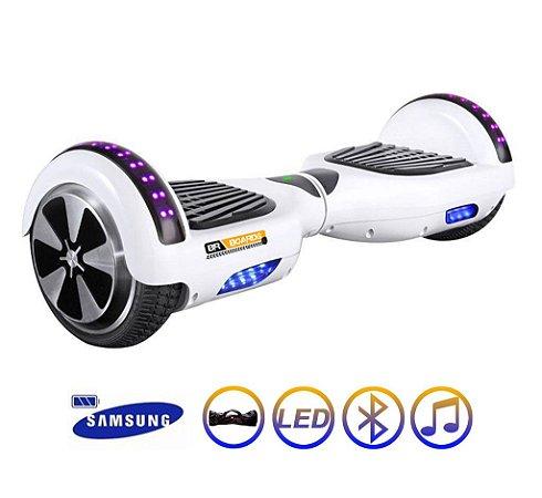 Hoverboard Skate Elétrico Smart Balance Wheel 6,5 Polegadas com Bluetooth - Branco