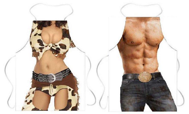 Avental cowgirl e cowboy
