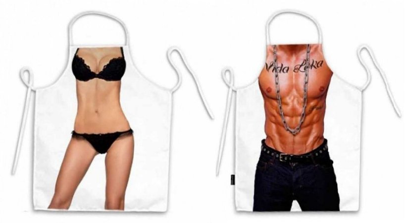 Avental corpo lingerie e mano