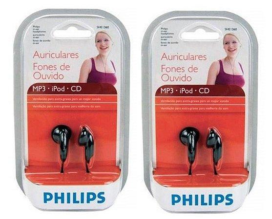 Fone de ouvido Philips intra auricular – 2 unidades