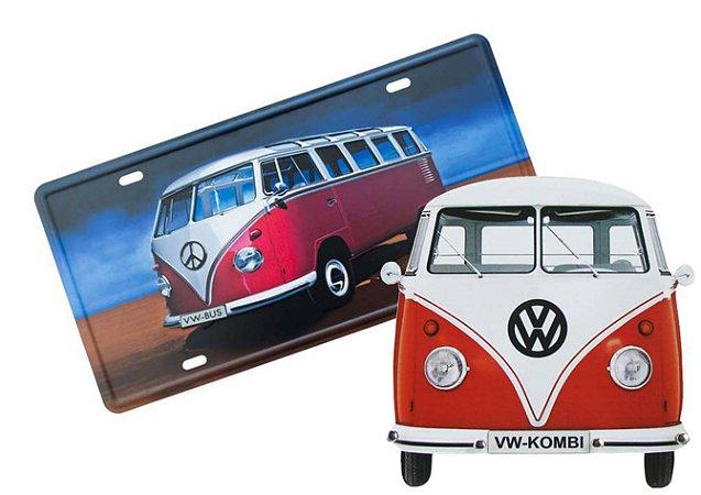 Placa de metal Kombi Vermelha e Porta Chaves Kombi Vermelha