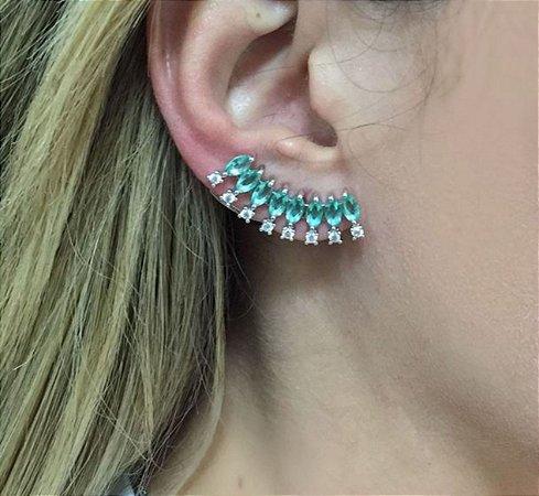 Brinco ear cuff luxo turmalina