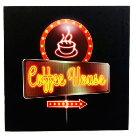 Poster decorativo coffee house com led