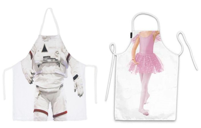 Avental infantil corpo astronauta e bailarina
