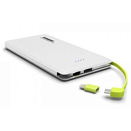 Carregador portátil Pineng 10000mah Slim branco compatível Moto G5 Plus
