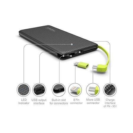 Carregador portátil slim 10000Mah Powerbank Pineng Pn-951 com 2 USB - preto