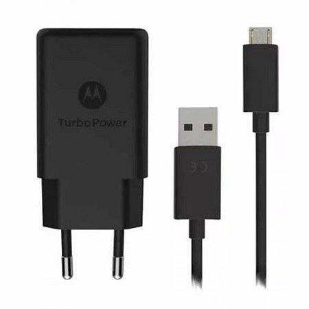 Kit Carregador Motorola Turbo Power Micro USB Moto G6 Qc. 3.0