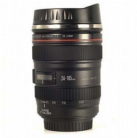 Caneca lente de câmera