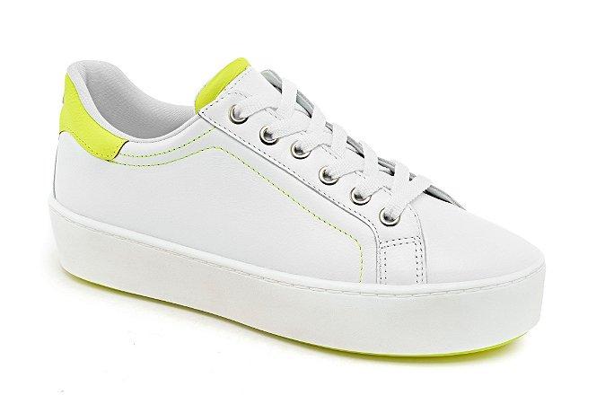 C19015 - Tênis Marina Mello - Branco/ Amarelo Neon/ Sola Neon