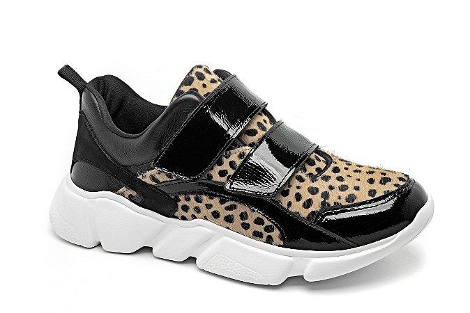 C20002 - Tênis Marina Mello - Cheetah Bege | Verniz Preto