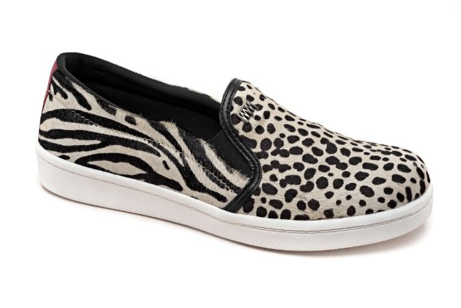 Slip On Marina Mello - Pelo Cheetah Branco