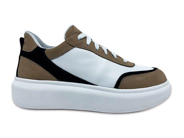 C26008 - Tênis Marina Mello - Cabra Branco | Baunilha/Preto