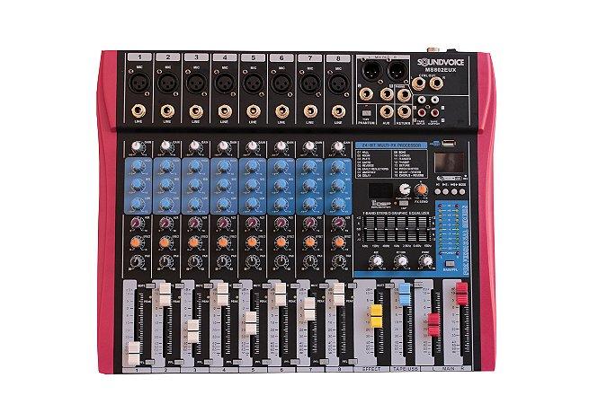 Mesa de Som Soundvoice 8 Canais Efeitos/Equalizador MS802 EUX