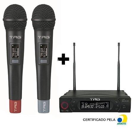 Microfone Sem Fio Duplo TagSound UHF digital TG-8802