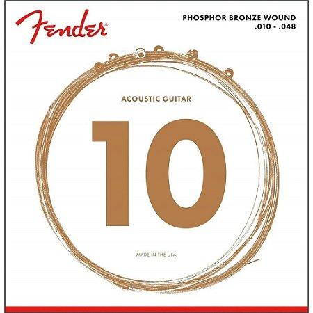 Encordoamento Fender Violao Aco 010 Phosporo Bronze 60XL