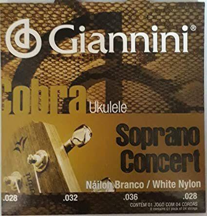 Encordoamento Giannini Ukulele Soprano e Concert Nylon GEUKSC