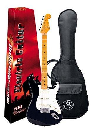 Guitarra SX SST57 Preta Com Bag